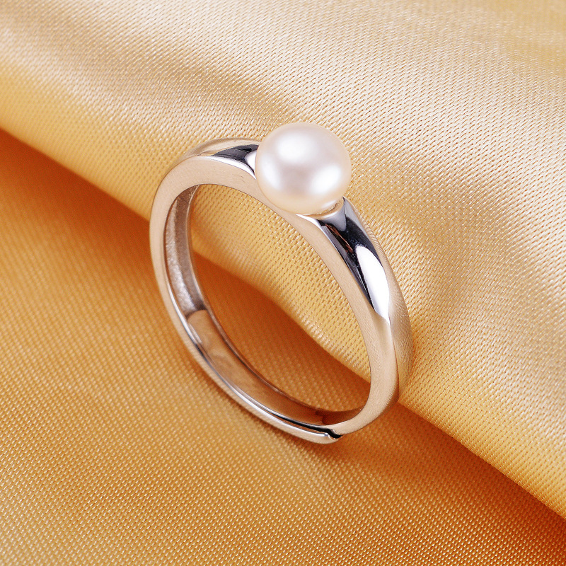 Natural Pearl Ring 100% Real Freshwater Pearl Jewelry Classic Women Engagement Ring White / pink / purple