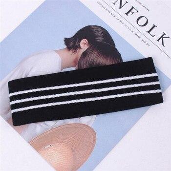 PINKSEE Letter Striped Headband for Women Men Sport Head Band Elasticity Knitting Turban Sweat-proof Hair Band 4