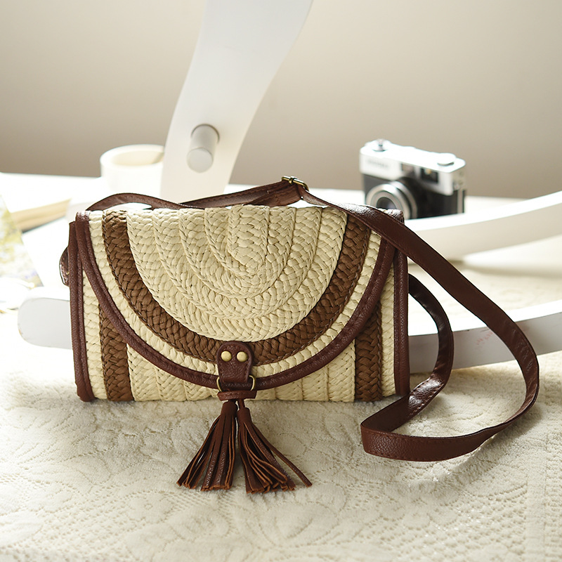 2017 New!! Womens Bag Woven Bags For Womens Designer Shoulder Bag Ladies Cute Knitting Tassel Women Mini straw bag Summer