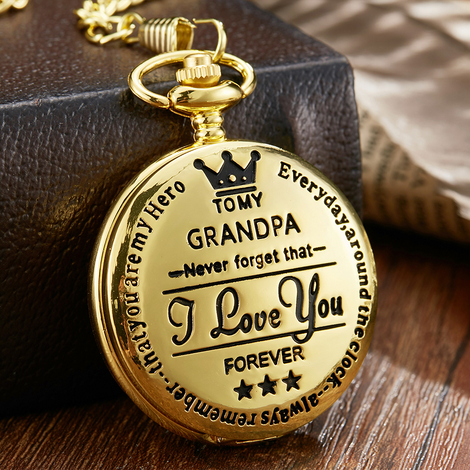 To My Grandpa Quartz Pocket Watch I LOVE YOU FOREVER Laser Engraved Necklace Chain Clock Gold Watches Grandfather Birthday Gift
