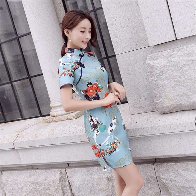 Modern chinese dress 2018 qipao style Traditional clothing ladies Short mini Cheongsam Dress vintage printed