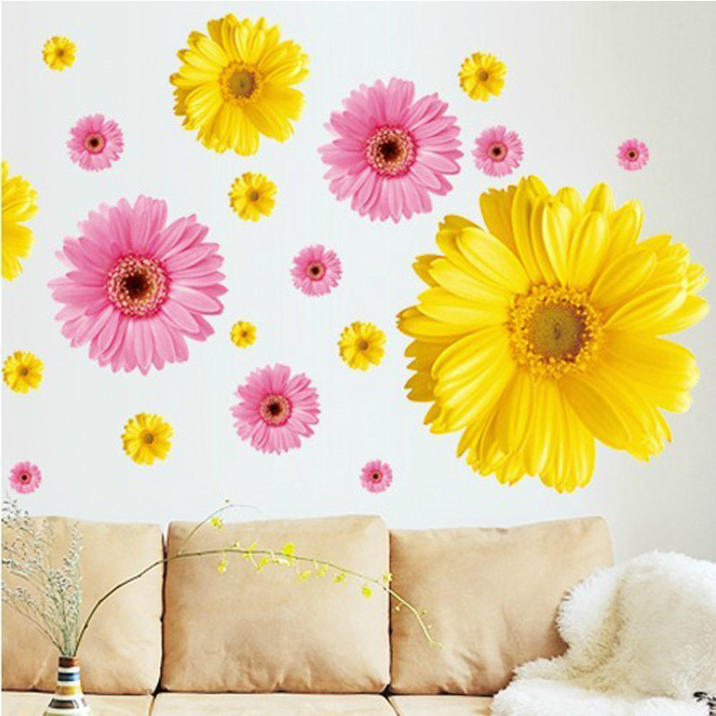 Removable Romantic Yellow Pink Daisy Flower Vinyl Wall Stickers ...