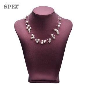 Image 2 - Collier de perles deau douce naturelles pour femmes perles baroques 4 8mm 5 rangées bohême bijoux faits à la main mode spez