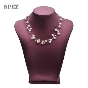 Image 2 - Natural freshwater pearl necklace for women  Baroque Pearls 4 8mm 5 Rows Bohemia Handmade Jewelry Fashion spez