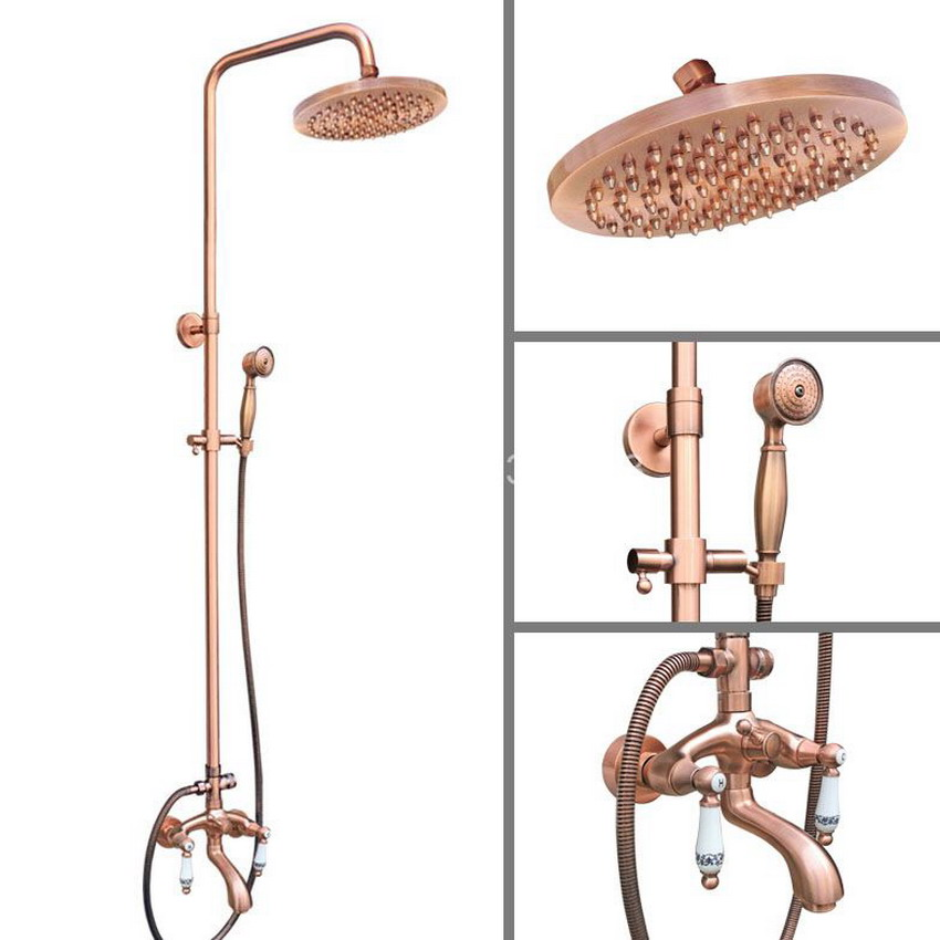 Antique Red Copper Wall Mounted Watefall Bathroom 8 inch Round Rain Shower Faucet Set Dual Ceramic Handle Tub Mixer Tap arg533
