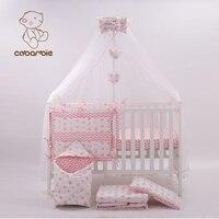 7 шт. розовые модные кроватка Постельные принадлежности Набор для новорожденных младенческой номер для маленьких Спальня Комплект ясельны