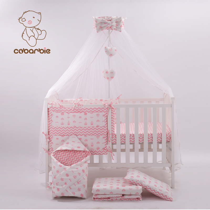 US $135.09 21% OFF|7 Pc Pink Fashion Bed Cot bedding set for newborn babies  Infant Room Kids Baby Bedroom Set Nursery Bedding-in Bedding Sets from ...