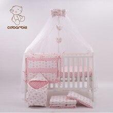 3dc5a5bc17ac5 7 Pc Rose Mode Lit lit bébé ensemble pour nouveau-né bébés Infantile Chambre  Enfants Bébé lot de chambre à coucher literie de pé.