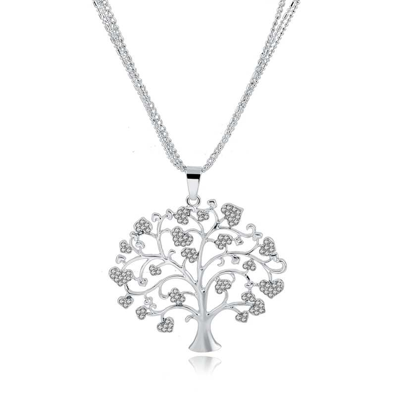 MELIHE Tree Of Life จี้สร้อยคอผู้หญิงคริสตัลทองเงินสร้อยคอจี้หญิง Vintage เครื่องประดับ Collar Sne160113