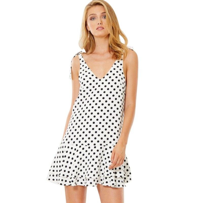 Deep V Ruffle 2018 Summer Sleeveless Vestidos Women Elegant Thin Dot Printing Mini Casual Dress Female