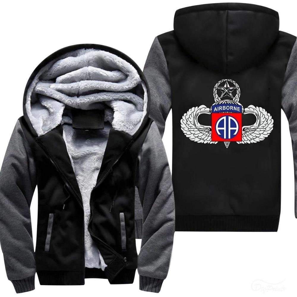 man coat  printed 82nd AIRBORNE DEVISON hoodies  Men's Warm Fleece Hooded zipper Hoodies USA size