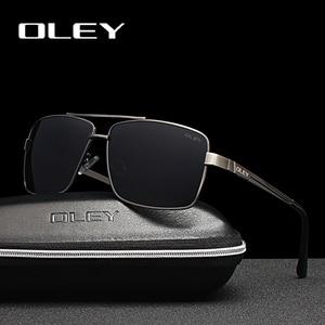 Мужские и женские квадратные очки OLEY, поляризационные солнцезащитные очки в оправе из нержавеющей стали, летние дорожные очки HD, антибликов...