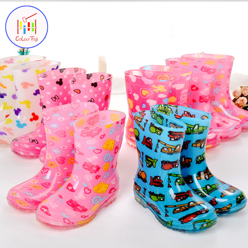 Uovo Waterproof Children Rainboots Soild Candy Colors Spring Autumn Winter Boys Girls Rain Boots Children Rain Shoes Childrens