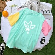 Harajuku T-Shirt For Women AD Print Short Sleeve Cotton Tshirt