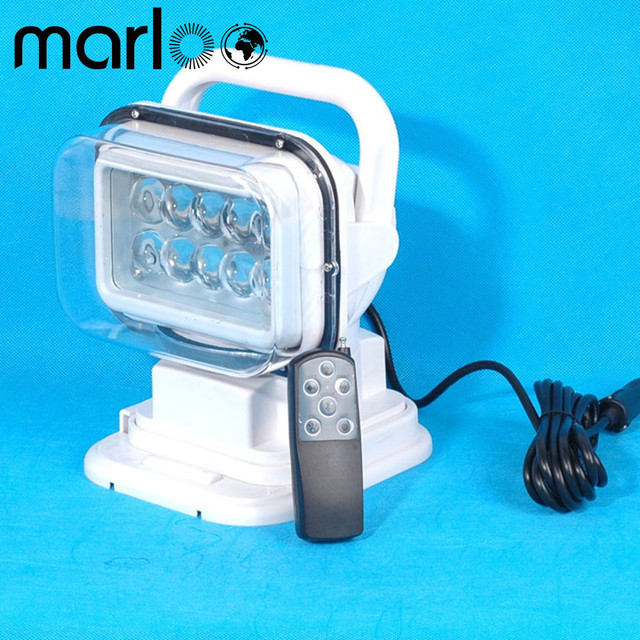 Marloo 50w Led Search Work Light Spot Handhold Remote Control 12v 24v For SUV Boat Emergency Lighting Garden Etc White