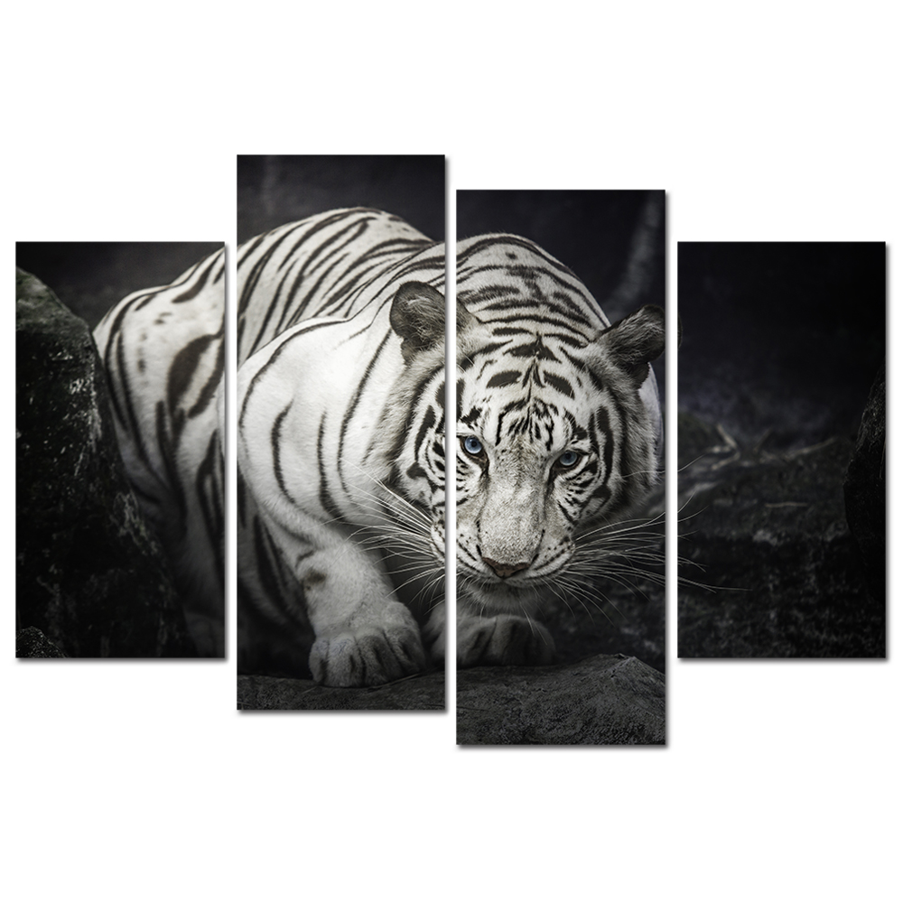 4 panel black and white animal wall art tiger eye painting blue eyed tiger prints animal pictures giclee artwork for home modern