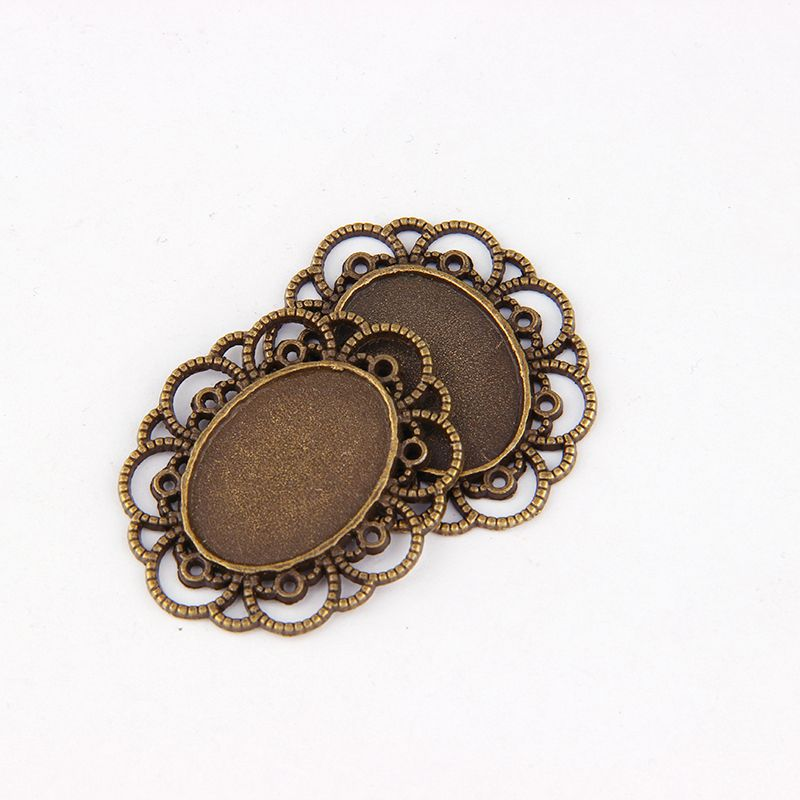 5pcs DIY Antiqued Bronze Vintage Alloy Sun Flower  Oval Cameo Cabochon Base Setting Necklace Pendant Tray 18*25mm Jewelry Blanks