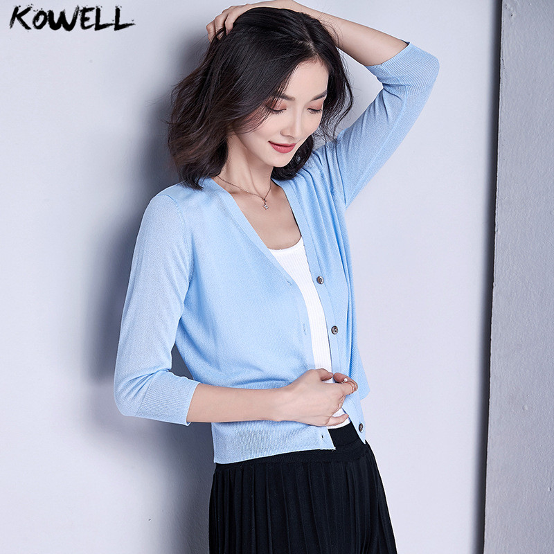summer 2018 korean cardigans women thin short sweater V-Neck knitted female clothes loose three quarter sleeve tops solid coat