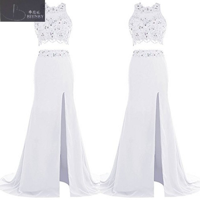 29f587dfc2 Summer 2017 Beach Wedding Dresses Halter Neck Beaded Lace Crop Top Fitted  White Chiffon Two Pieces Bridal Gowns