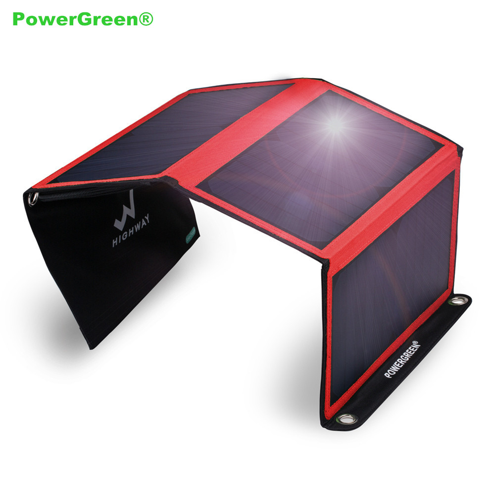 PowerGreen Foldable Solar Charger 21Watts 5V 2A Phone Powebank Folding Solar Power Backpack Battery Bank for Cell Phones