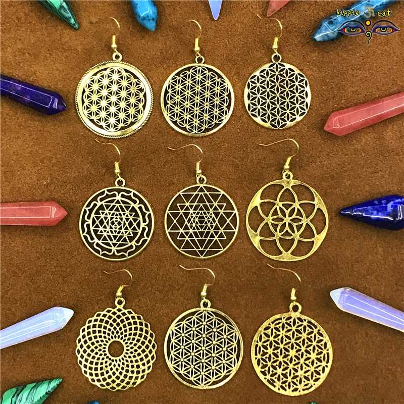 Flower of Life Religious Geometric Drop Earrings for Women Indian Afghan Thailand Hippie Hoops Sliver Elegant Women's Jewelry cc