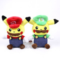 Cute Funny Pikachu Cosplay Super Mario / Luigi Plush Toys Cartoon Soft Stuffed Dolls Kids Gifts 2 Types 26cm
