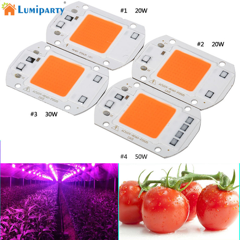 LumiParty 110V 220V COB LED Chip Phyto Lamp Full Spectrum 20W 30W 50W LED Diode Grow