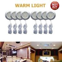 8PCS 12V 3W Warm LED Round Spot Interior Dome Ceiling Light For Car RV Caravan Camper Trailer Camper Warm Light