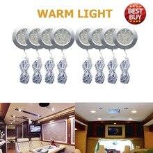8 светодио дный шт. 12 В 3 Вт теплый светодиодный круглый пятно интерьер КУПОЛ потолочный светильник для автомобиля RV Караван Camper трейлер Camper теплый свет