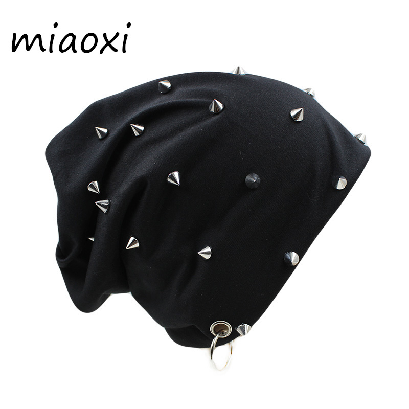 miaoxi Hip Hop New Fashion Rivet Hoop Warm Winter Men Hat Women Autumn Adult Fashion Beanies Caps For Boy's Brand Bonnet Sale new fashion women autumn hat caps for girl rivet knit beanie skullies colors men casual hip hop hats adult winter bonnet shop