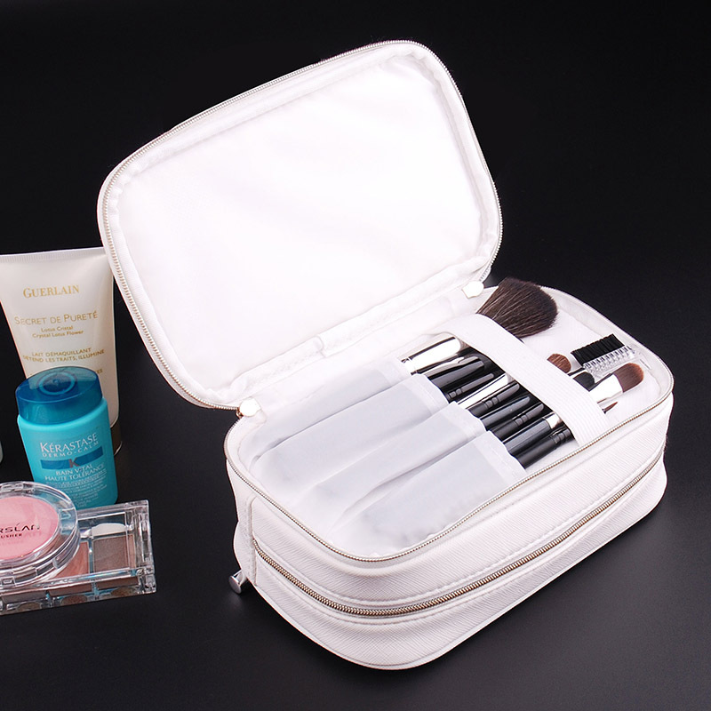 Double Layer Cosmetic Bag With Compartments Multifunctional