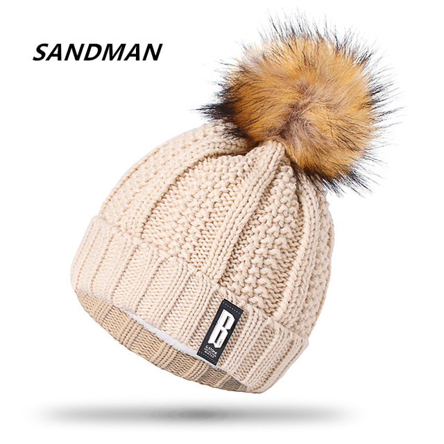 860fb89995ba9c SANDMAN Letter B Beanies Cotton Add Wool Fur Ball Cap Pom Poms Winter Hat  For Women Girl 's Hat Knitted Warm Beanies Cap