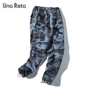 Image 3 - Una Reta pantalon de Camouflage pour homme, tenue Cargo, Streetwear, pantalon Long pour homme, style Hip Hop, taille élastique, collection décontracté