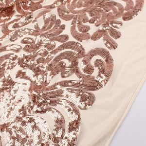 "Image 5 - Glitzy Gül altın Sıkı Pullu kumaş örgü payet nakış elastik dantel kumaş düğün elbisesi parti olay 50 ""geniş 1 yard"