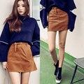 2016 Outono e inverno as mulheres saia curta cor marrom fino imitação de design sexy cintura Alta Mini saia com cinto feminino saia
