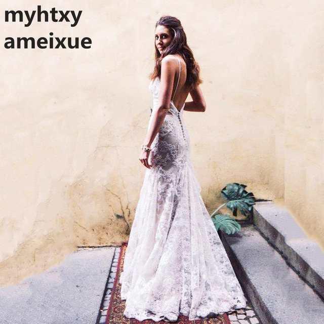 Vintage Mermaid Lace Wedding Dress 2018 Robe De Soiree Bridal