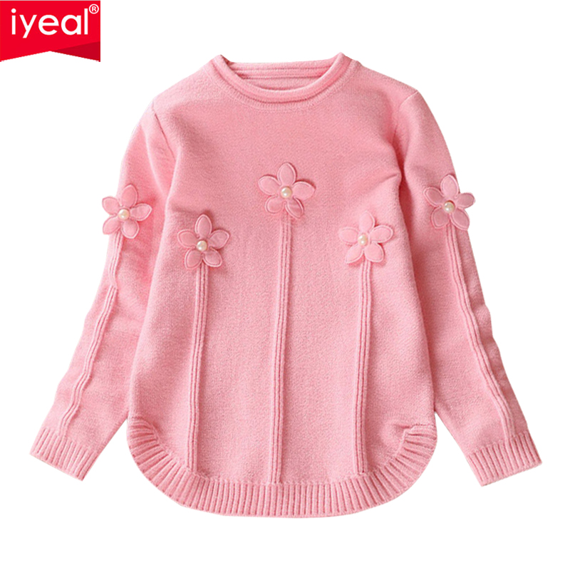 все цены на IYEAL 2018 New Baby Children Clothing Girls Candy Color Knitted Cardigan Sweater Kids Spring Autumn Cotton Outerwear for 3-7Year