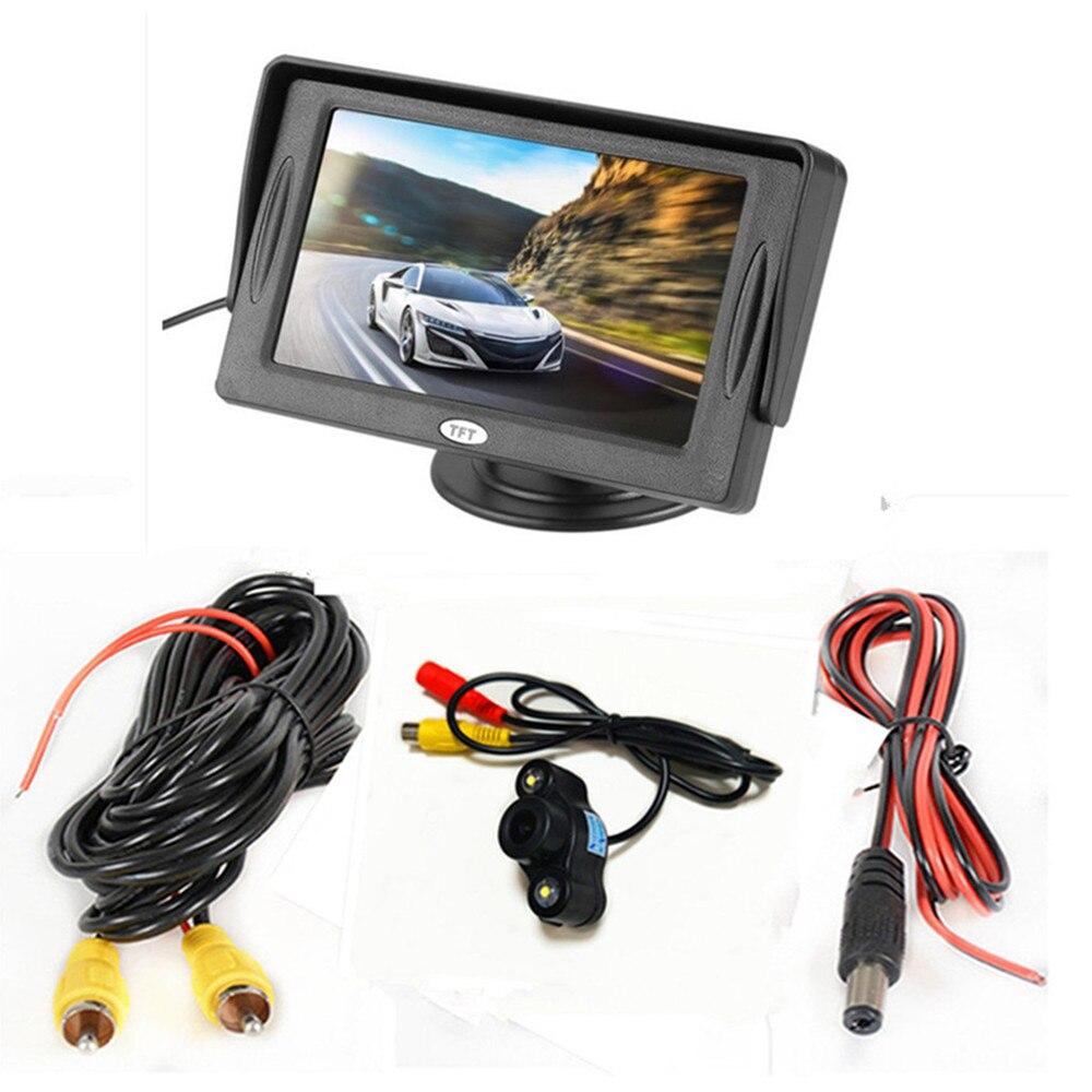 4,3 дюймовый TFT ЖК-цветной экран автомобильный монитор заднего вида парковочная помощь, камера заднего вида опционально - Цвет: With camera wired01