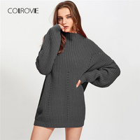 COLROVIE Exaggerate Eyelet Cut Out Casual Elegant Grey Knitted Sweater Women 2018 Fashion Pullover Winter Jumper Ladies Sweaters
