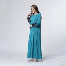 Vintage Uzun Kollu Pullu Elbiseler Kaftan Abaya Jilbab Müslüman Bayanlar Maxi Elbise