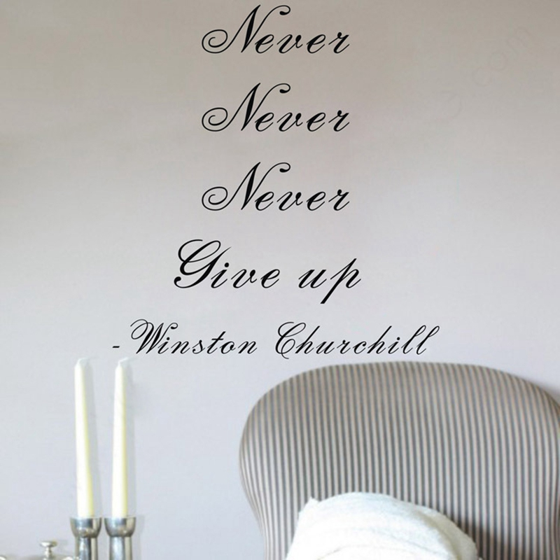 Removable Vinyl Wall Sticker Never Give Up Inspirational Quotes