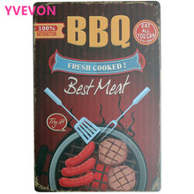 BBQ FRESH COOKED Best Meat Metal Decor Sign Vintage Food Plate for port  beef sausage barbecue ourdoor home party LJ7-15 20x30cm