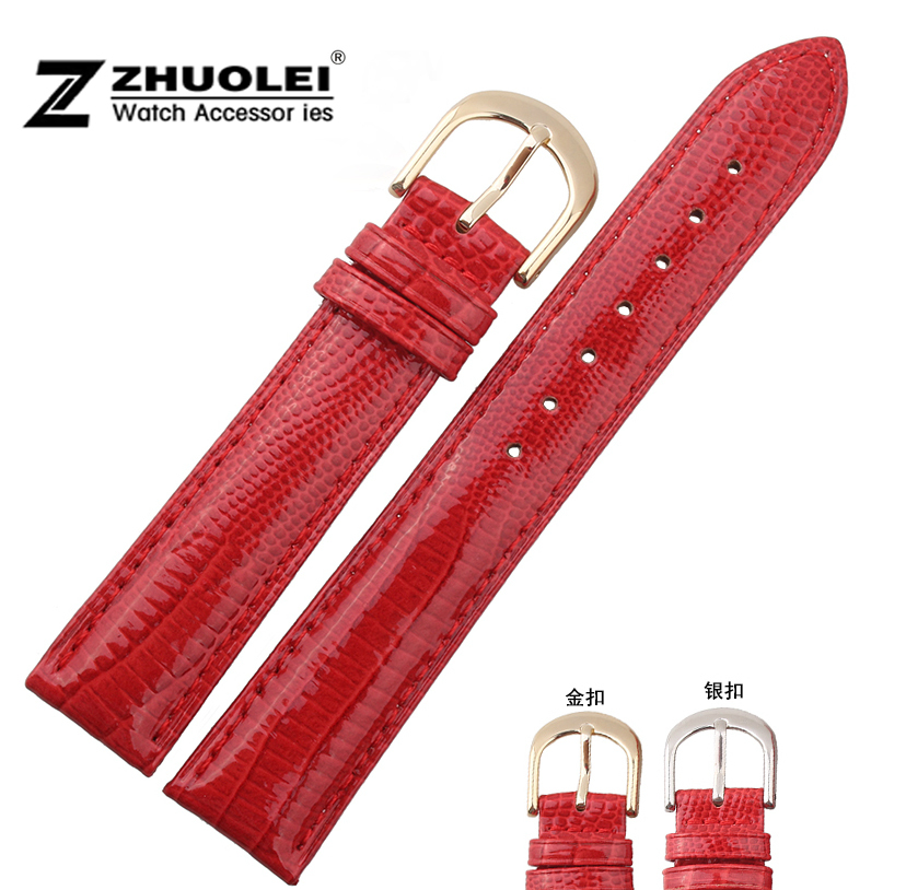 Watch Strap 14mm 16mm 18mm 20mm MEN Red Genuine Leather Strap Deployment Watch buckle calsp free shipping watch band12mm 14mm 16mm 18mm 20mm lizard pattern black genuine leather watch bands strap bracelets silver pin watch buckle