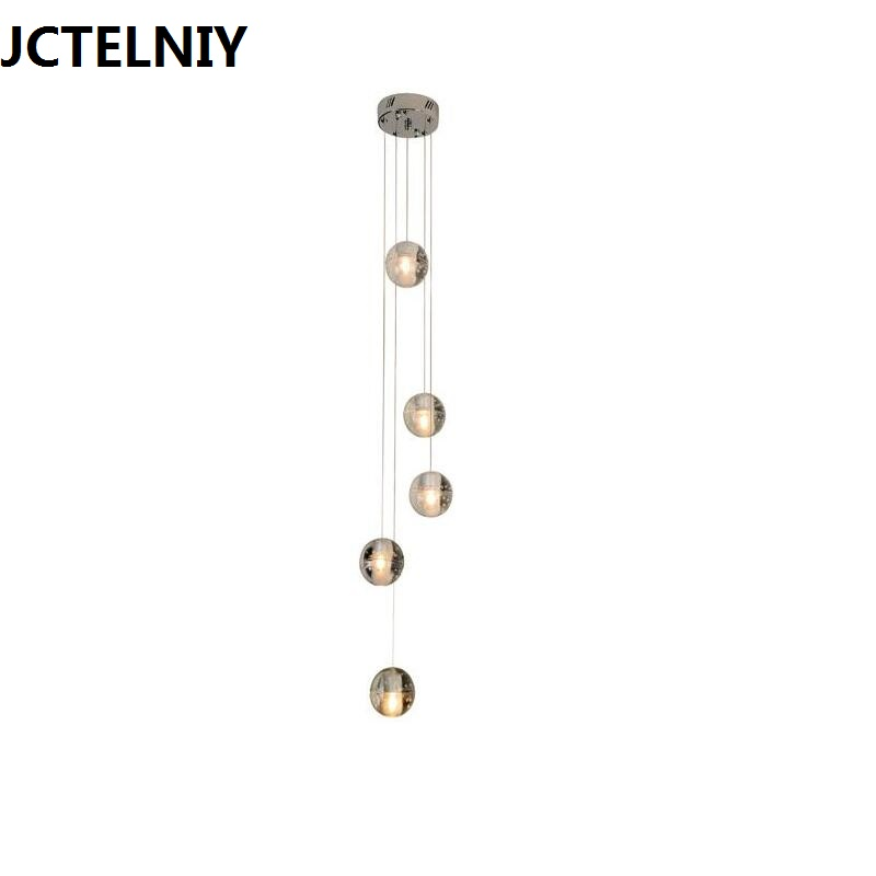 LED Crystal entranceway pendant light stair air bubble lamp personality villa ball 1/5 lamps stair light