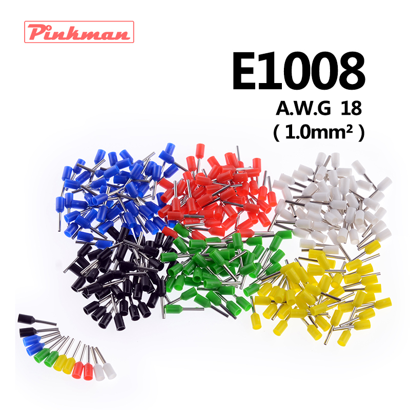 20/50/100pcs E1008 Tube insulating terminals AWG 18 Insulated Cable Wire 1mm2 Connector Insulating Crimp Terminal Connect