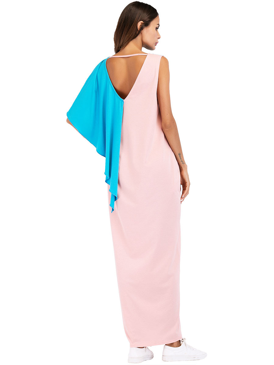 #187043 Euramerica Fashionable Color-Colored Irregular Stitching Dresses Musulman Women Abaya Muslim Robes Mujer Vestidos