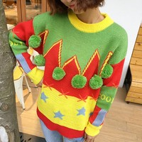 2017 Autumn And Winter Spliced Sweet Pom Pom Stitching Color Knitted Pullovers Women Long Sleeves Christmas