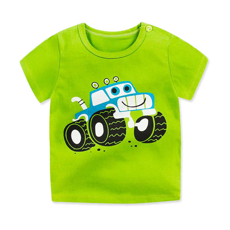 2019 Summer Baby Boy Leisure Short Sleeve Green Car Baby Girl Cotton Fashion T-shirt