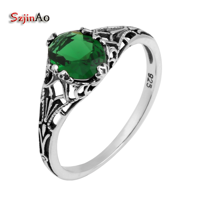 Szjinao Fine Jewelry Wholesale Fashion Carving Gothic Antique Jewelry 1ct Green Emeald Women 925 Sterling Silver Ring