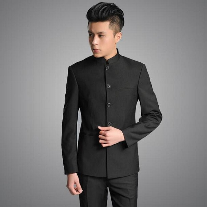 Stand Collar Chinese Tunic Suit Men Suit Set Latest Coat Pant